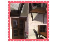 Dining table and 4 chair s with display cabinet