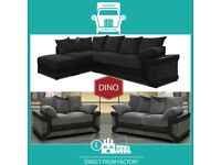 🗅New 2 Seater £229 3 Dino £249 3+2 £399 Corner Sofa £399-Brand Faux Leather & Jumbo CordᦗU5