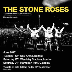 6x The Stone Roses pitch standing tickets, Hampden Stadium Glasgow, Saturday 24th June 2017