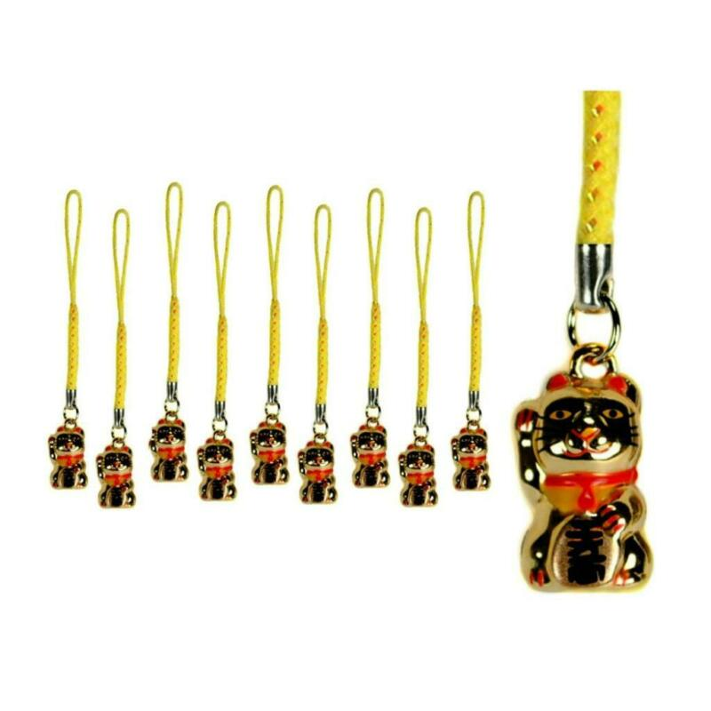 LOT OF 10 LUCKY GOLD CAT BELL CHARMS Kitty Maneki Neko Brass Hanging Phone Strap