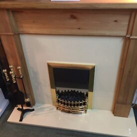 SOLID PINE MANTLE AND CREAM MARBLE SET