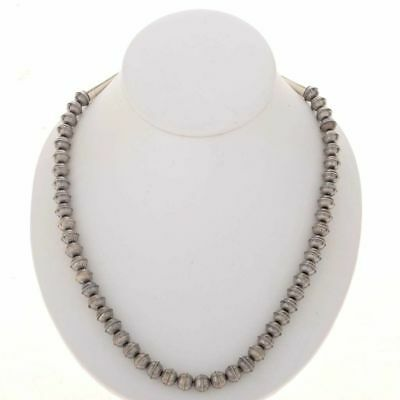 Native Navajo Sterling Silver 8mm Aztec Design DESERT PEARLS Bench Bead Necklace