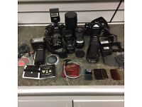 Ricoh KR-10 + Zenit 12 XP Camera Bundle with Lots Of Accessories