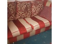 red and gold 3 seater sofa