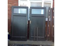 Timber double doors mortice and tenon wired glass rebated marine ply wood insert very strong