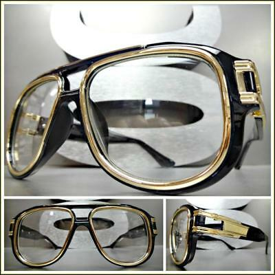 OVERSIZED VINTAGE RETRO Style Clear Lens EYE GLASSES Large Wide Black Gold (Wide Eye Glasses)
