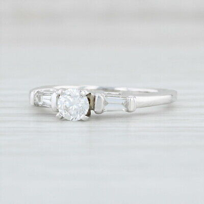 0.50ctw Diamond Engagement Ring 14k White Gold Size 6.25 Round Solitaire
