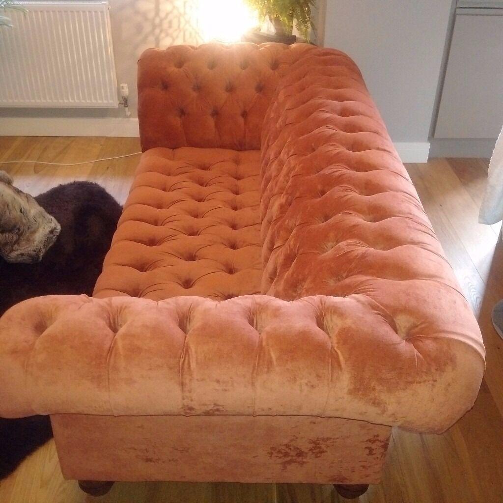 Nice Chesterfield Three Seater Sofa In Burnt Orange Velvet With Wooden Legs