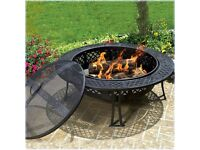 CobraCo Diamond Mesh Fire Pit with Screen and Cover BNIB