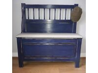 SHABBY CHIC HALL STORAGE BENCH WITH UPHOLSTERED SEAT.