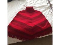 Red stripe Peruvian poncho