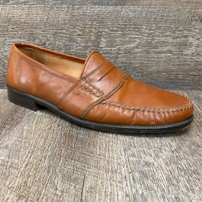 Alfani Mens Dress Loafers Shoes Brown Leather Slip-On Flexible Italy Size 11 D