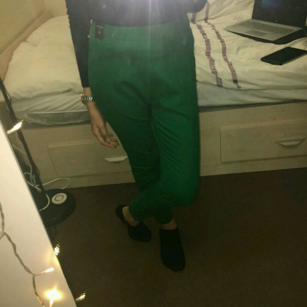 BRANDNEW River Island Green Trousers with Side Zip