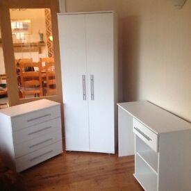 White bedroom furniture.