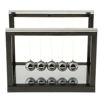 Newtons Cradle Pendulum Balls Toy W Mirror Home Office Decor Black - S