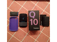 Blackberry Q10 Boxed with spare battery, external battety charger, case -excellent working condition
