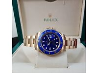 Complete Package gold strap blue face ceramic bezel Rolex Submariner automatic sweeping