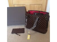 Louis Vuitton Brown Neverfull Check MM bag with a pouch for sale