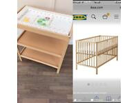 Baby change table & cot