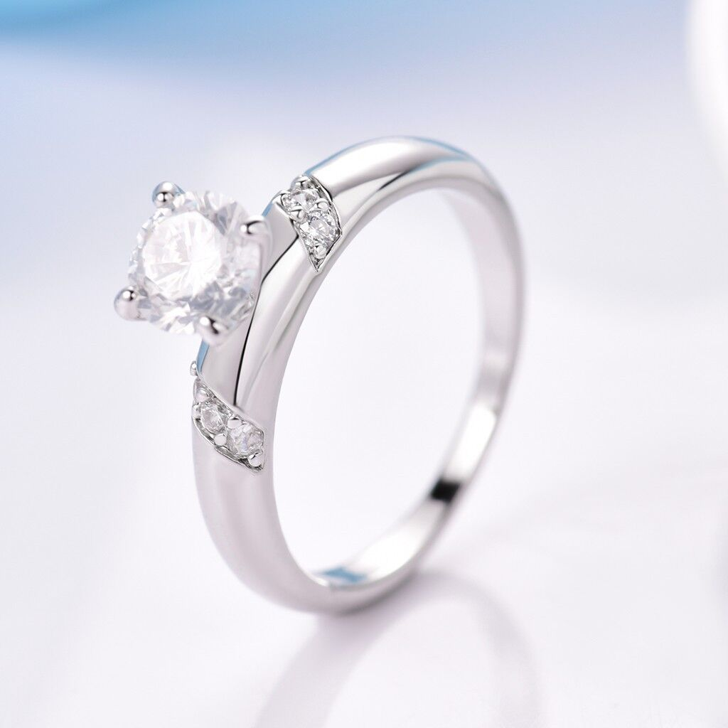 Hot Charms Women 18K White Gold Filled Sapphire Crystal Cheap Wedding Rings 5-9