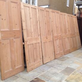 7 x Four Panel Edwardian Stripped Solid Pine Doors
