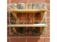 Handmade Rustic Shabby Chic Set of Shelves with Distressed Union Jack Background