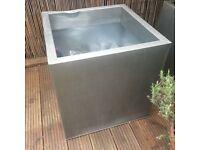 Zinc 59cm cube metal planter