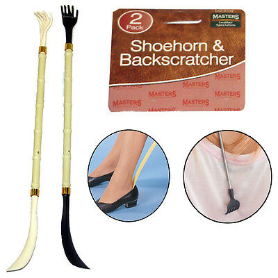 2 SHOEHORN SHOE HORN BACK SCRATCH SCRATCHER EXTRA LONG EASY REACH MOBILITY AID