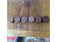 HORNSEA VINTAGE (BROWN HEIRLOOM) : RETRO 1970s SET of 6 SPICE JARS & TEAK RACK IN VGC