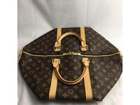 Stunning Louis Vuitton 45 Lv damier logo on brown backdrop genuine designer