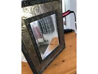 Antique wooden/brass mirror