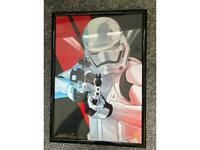 Star wars Framed hand signed first order stormtrooper art print