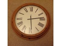Large pine circular wall clock