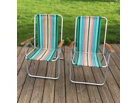 Vintage Pair of Folding Deck Chairs