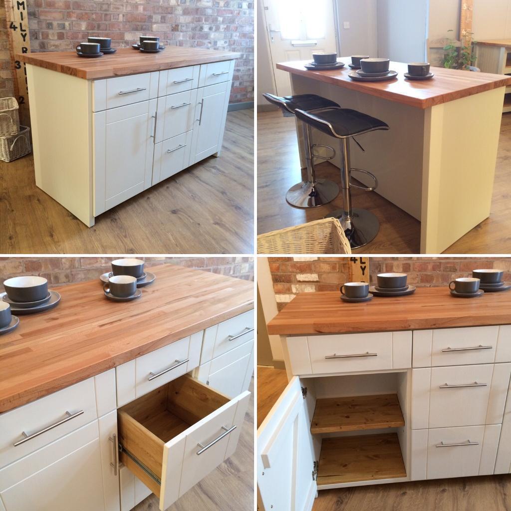 bespoke handmade solid pine kitchen island breakfast bar with