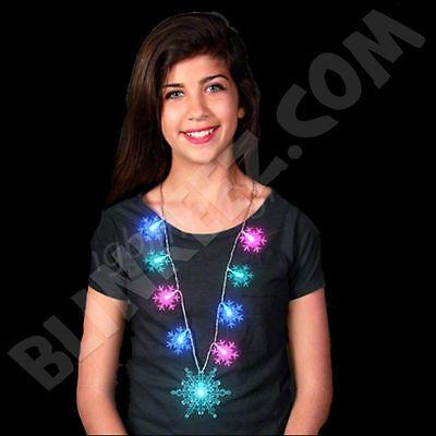 Light up JUMBO LED SNOWFLAKE Necklace FLASHING Blinking FROZEN HOLIDAY FUN~](Blinking Necklace)
