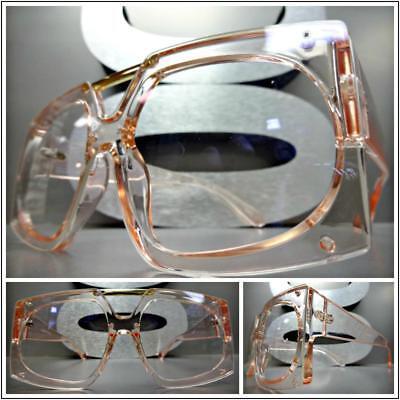 OVERSIZED VINTAGE RETRO Style Clear Lens EYE GLASSES Large Pink Fashion Frame
