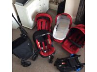 Britax bdual double pushchair with lots of extras