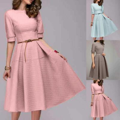 Women Ladies Short Sleeve Casual Vintage Work Office Evening A Line Midi Dresses