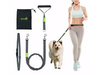 Hands Free Dog Leads with Adjustable Waist Belt and Extra Handle Walking Bungee Leads