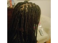 Afro and European mobile hairdresser box braids, crochet and weave