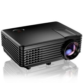 Mini Projector, Portable Home Cinema HD LED Video Movie Projector Support 1080P VGA HDMI AV, Black