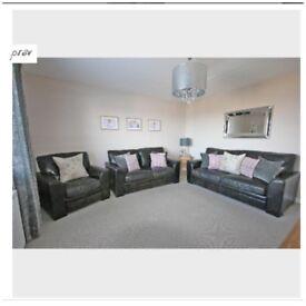 Halo Black Leather Sofa Suite