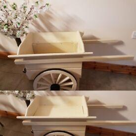 Wooden cart plant or miniture shetland