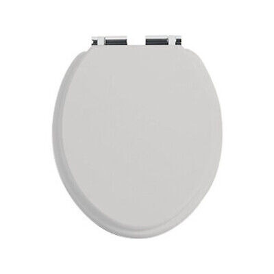 Heritage Dove Grey Toilet Seat with Soft Close Chrome Hinges