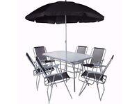 6 Seater Garden Patio Set with Parasol