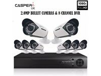 CASPERi 2.0MP NightVision Outdoor Wide-Angle 8 Bullet Cameras & 8 CH DVR
