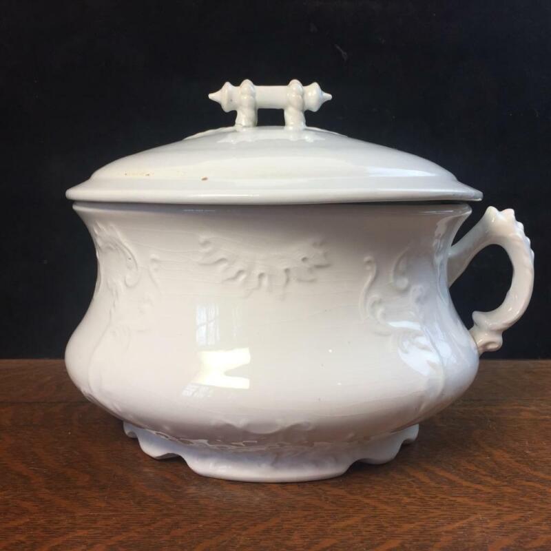 Antique W.C. CO. Semi-porcelain Iron stone Chamber Pot Handle Commode Bowl & Lid