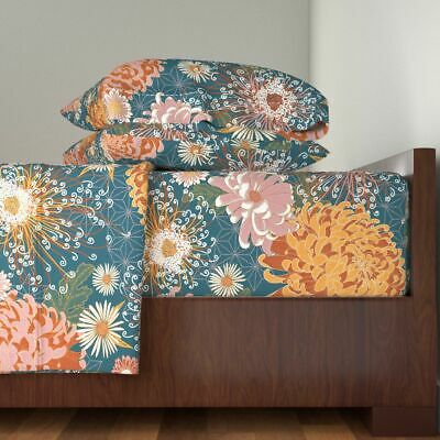 Autumn Flowers Japanese Inspired Large 100% Cotton Sateen Sheet Set by Roostery ()