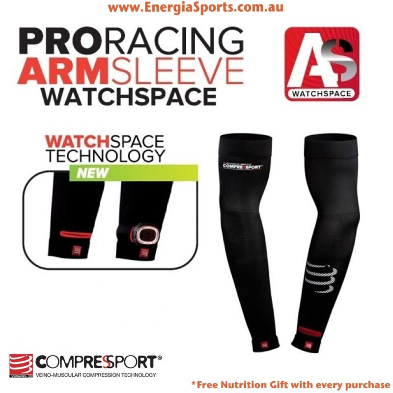 Compressport ProRacing Arm Compression Sleeve with Watch Space comes in White and Black